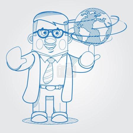Scientist man showing a globe.