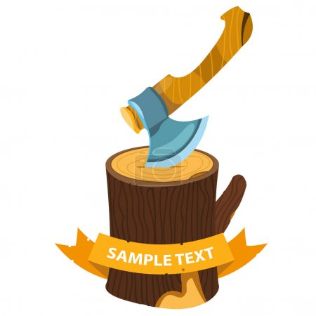 Illustration for Axe in a wooden stump.vector illustration - Royalty Free Image