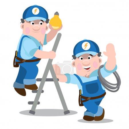 Illustration pour Deux hommes en uniforme qui travaillent dans la lumière. Des électriciens au travail. illustration vectorielle - image libre de droit