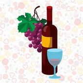 Bottle of red wine bunch of grapes and a glassvector illustration