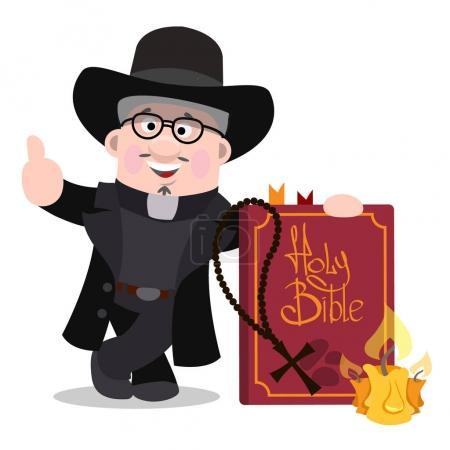 Illustration pour Prêtre avec une grande bible. Personnages de bande dessinée . - image libre de droit