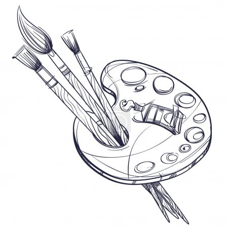 Illustration for Artist's palette with paints and brushes. Black and white vector illustration for posters, coloring books and other items. - Royalty Free Image