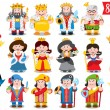 Seamless pattern with cartoon kings and queens....