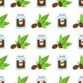 Seamless pattern with illustrations on the theme of coffee Jar of coffee and coffee beans