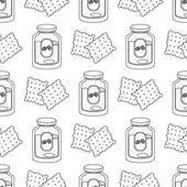 Seamless pattern with outline drawings crackers and jars of coffee