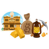 Saloon Wild West Goldfield pick and oil lamp icons Design gaming applications
