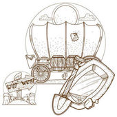 Cartage carriage cowboy outline drawing for coloring Former transport and vehicles Wild West