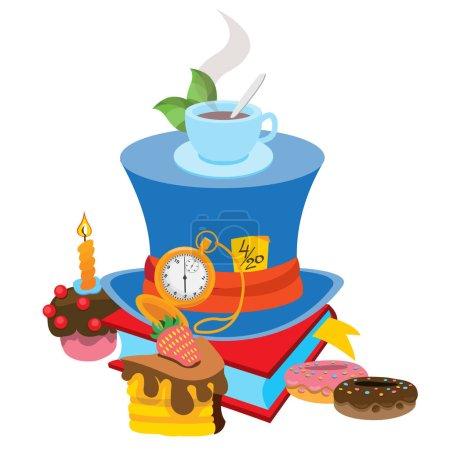 Illustration pour Chapeau bleu avec un ruban gris. Illustration du conte de fées Les Aventures d'Alice au Pays des Merveilles . - image libre de droit