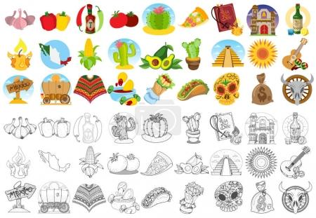 Mexican food and household icons