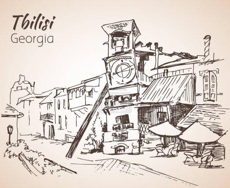 Street view of old Tbilisi, Georgia.