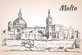 Malta island old buildings sketch