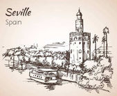 Sketch of spain city Seville Torre del Oro