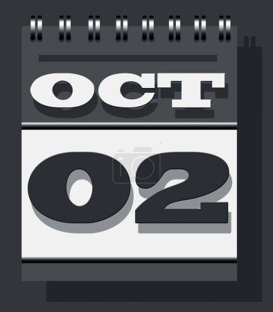 Photo pour Octobre deuxième note du calendrier, Gandhi Jayanti ou l'anniversaire de naissance du Mahatma Gandhi et l'icône du calendrier de la Journée internationale de la non-violence isolée sur fond texturé mur gris. - image libre de droit