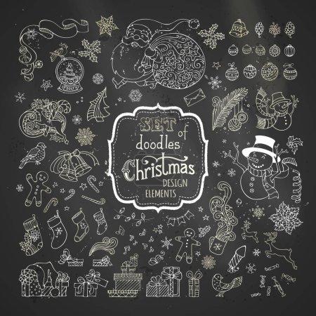 Photo pour Boules de Noël, Père Noël avec sac, bonhomme de neige, homme de pain d'épice, chaussettes de Père Noël, cadeaux, boule de neige . - image libre de droit