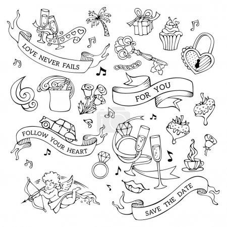 Photo pour Ensemble d'icônes Saint-Valentin, illustration vectorielle - image libre de droit
