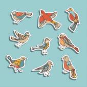 Various birds sticky labels on blue background 80s-90s style design