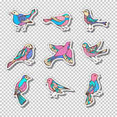 Bright colourful patches stickers embroidery and sticky labels on transparent background 80s-90s style design