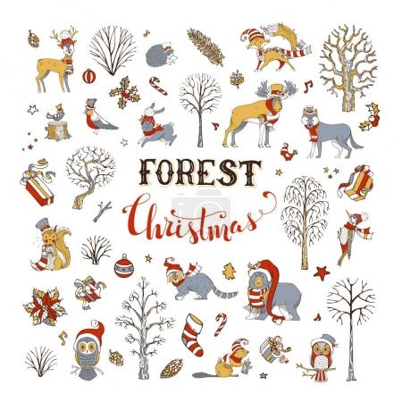 Winter trees and forest animals in Santa hat and s...