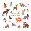 Vector set of forest animals dressed in Santa hat ...