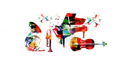 Colorful music instruments and hummingbirds
