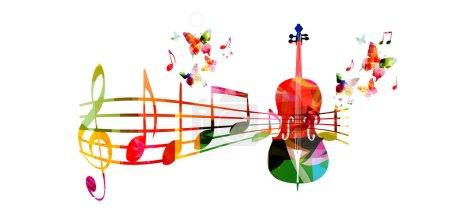 Illustration pour Fond musical coloré avec violoncelle et notes de musique - image libre de droit