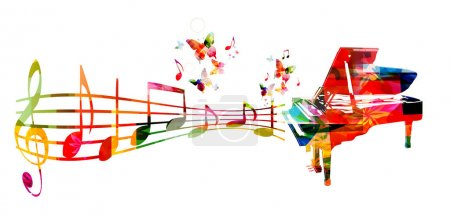 Illustration pour Fond musical coloré avec piano et notes de musique - image libre de droit