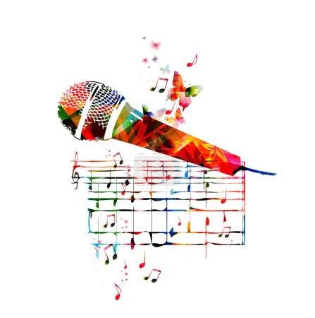 Illustration pour Conception colorée de microphone avec des papillons - image libre de droit