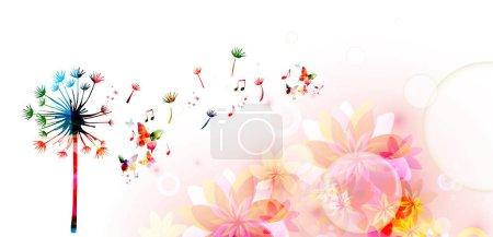 Illustration pour Pissenlit coloré avec notes de musique, modèle musical - image libre de droit