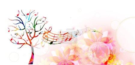 Illustration pour Arbre à musique coloré avec des notes de musique et des papillons - image libre de droit