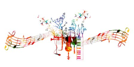 Colorful template with music instruments