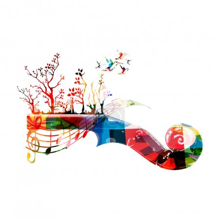 Colorful music background with guitar fretboard