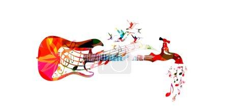Illustration pour Illustration vectorielle pour la musique inspire concept combinant guitare colorée avec robinet d'eau goutte à goutte notes de musique, recueillies à partir de divers éléments d'ornement de fleurs et décorées avec des colibris - image libre de droit