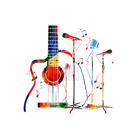 Colorful guitar background