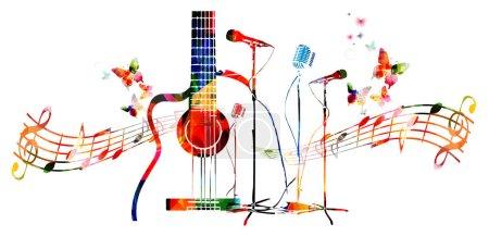 Illustration pour Guitare colorée avec microphones et fond de notes - image libre de droit