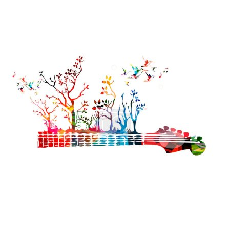 Colorful guitar and hummingbirds