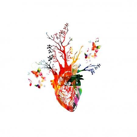 Illustration pour Illustration vectorielle pour un concept de mode de vie sain combinant cœur humain coloré avec des arbres en croissance, recueillies à partir d'éléments d'ornement de fleurs et décorées avec des colibris. Coeur d'arbre imaginaire - image libre de droit