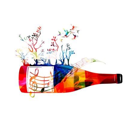 Photo pour Bouteille de vin colorée avec illustration vectorielle racine des arbres. Boissons alcoolisées et fond de boisson. Célébrations festives, événements et conception de fête. Entreprise vinicole, restaurant, conception de dégustation de vin. Flacon isolé - image libre de droit