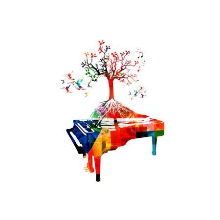 Illustration pour Fond musical coloré avec piano, arbre et colibris - image libre de droit