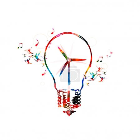 Colorful windmill turbine in light bulb