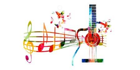 Illustration pour Fond musical coloré avec guitares et papillons - image libre de droit