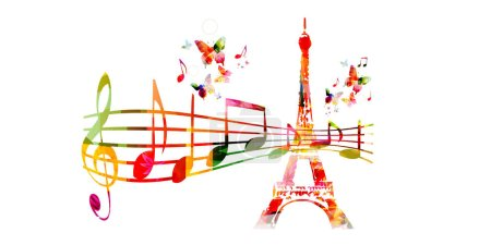 Colorful Eiffel Tower with music staff