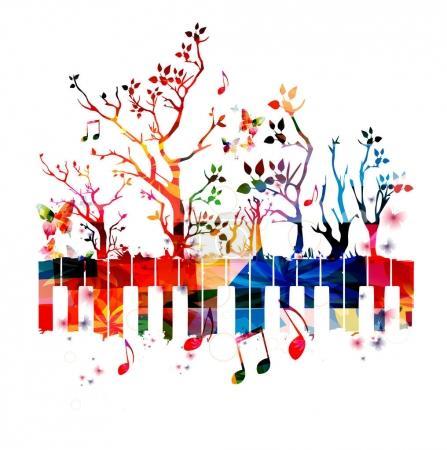 Illustration pour Clavier de piano coloré avec des arbres et des notes de musique. - image libre de droit