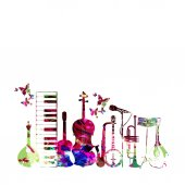 Colorful music instruments isolated vector illustration