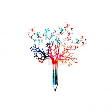 pencil with treetop and hummingbirds