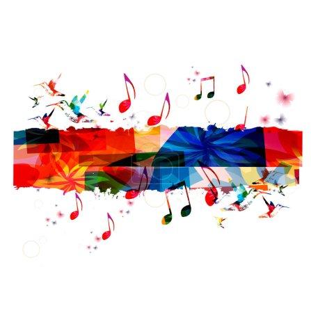 Illustration pour Fond musical coloré avec illustration vectorielle colibris - image libre de droit