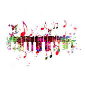 Colorful piano keyboard with music notes Music instrument background vector illustration