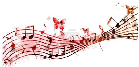Illustration pour Fond coloré avec des notes de musique et des papillons sur blanc - image libre de droit