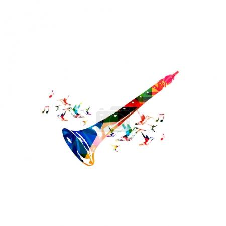 indian shehnai with music notes and hummingbirds