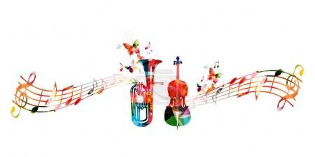 Colorful euphonium and violoncello