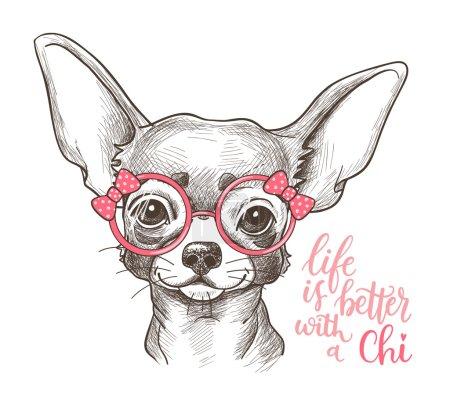 Girl Chihuahua illustration print